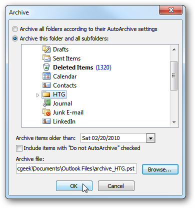 Use Outlook Archive feature to export OST to PST