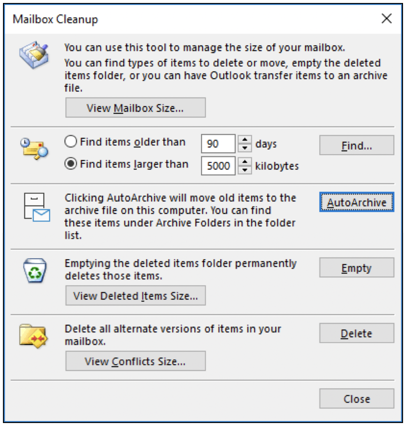 Outlook Mailbox cleanup tool