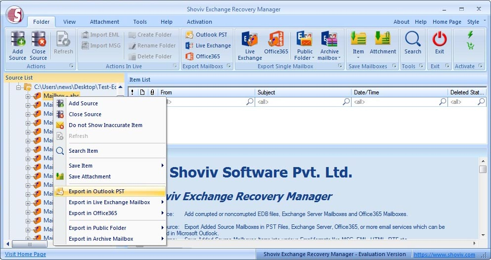 Exchange Server Recovery full screenshot